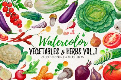Watercolor Vegetables, Herbs