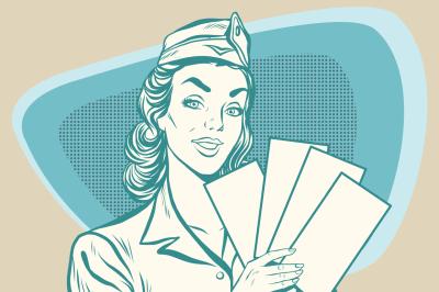 Retro stewardess with ticket