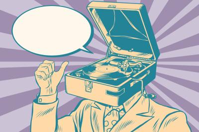 Gramophone man music playing