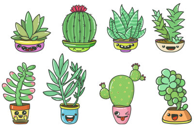 Cartoon cacti with funny faces
