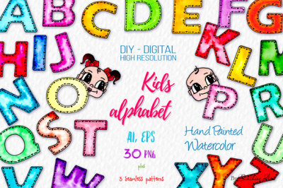 Kids Alphabet & Cut Faces - Watercolor Clipart