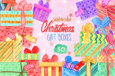 Christmas Gift Boxes – Watercolor Clip Art Kit