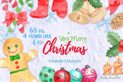 A Very Merry Christmas, 65 Watercolor Design Elements - Clipart
