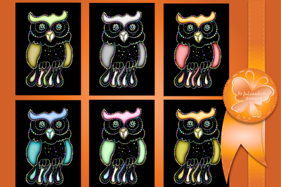 The image of a bright glowing owl on a black background. The archive contains 6 JPEG files 300 dpi.