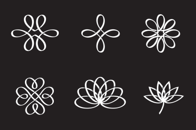 Logo elements overlapping line icons