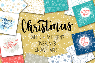 Christmas cards + overlays +patterns