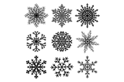 Vector set of Christmas snowflakes