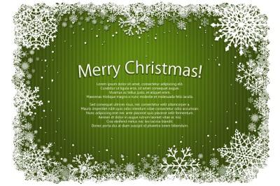 Green Christmas snowflakes frames. Vector