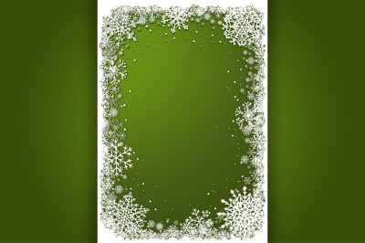 Set of green vector Christmas frames