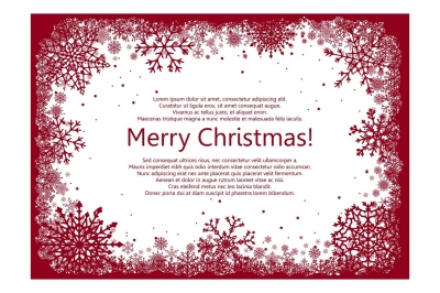 Red Vector Christmas Snowflakes Frame