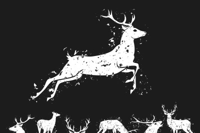 Set of graphic design deer head silhouette with horns in grunge scratched style white on black background. Vector illustration