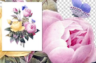 Rose Bouquet Vintage Watercolor Flowers