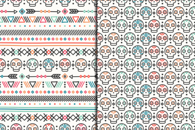 Day of the Dead. Tribal hand drawn line mexican ethnic seamless pattern. Native aztec background. Style skull.