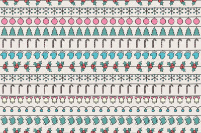 Merry Christmas and Happy New Year 2017. Christmas season hand drawn seamless pattern. Vector illustration. Doodle style. Decorations. Winter holiday backgrounds for design.