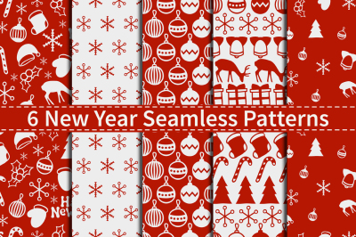 6 New Year Seamless Patterns