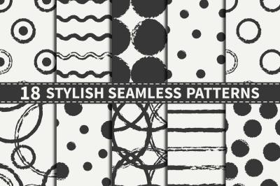 18 Seamless Ink Patterns Set