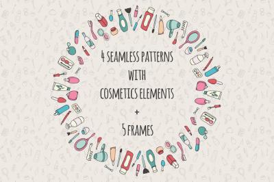Cosmetics And Beauty Patterns Set