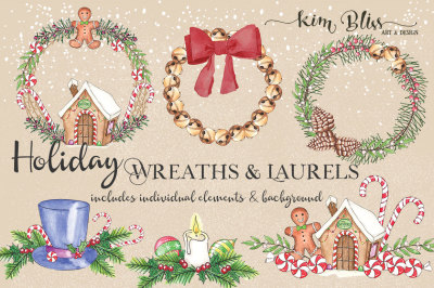 Holiday Wreaths & Laurels Clip Art