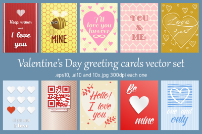 Greetings cards for Valentine's day, vector collection