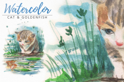 watercolor cat and goldenfish