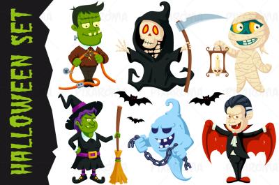 Halloween Flat Cartoon Characters Set