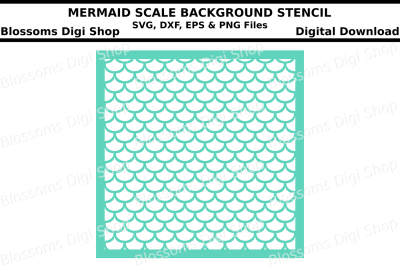 Mermaid scales background SVG, DXF, EPS and PNG cut files