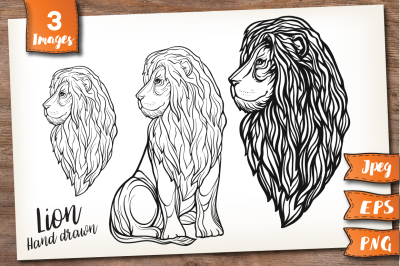 Lion. Outline and patterned.