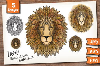 Lion. Color and patterned.