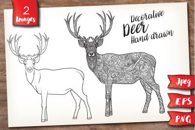 Deer. Outline and patterned.
