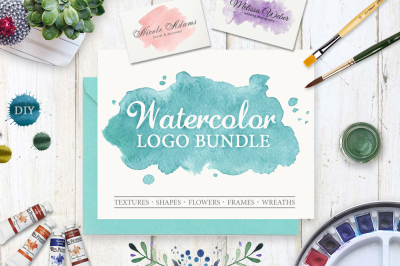 Watercolor Logo Bundle. DIY