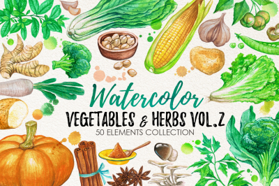 Watercolor Vegetables, Herbs, Green