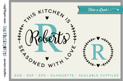 DIY personalize SVG Kitchen Seasoned with Love monogram frame