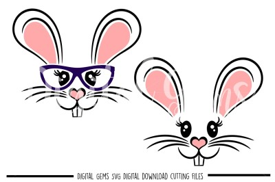 Rabbit Face SVG / DXF / EPS / PNG Files