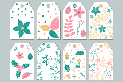 Floral gift tags printable, Botanical labels, Christmas gift tags with leaves