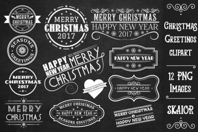 White Christmas Greetings Labels Tags Badges Clipart