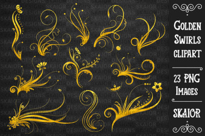 Gold Foil Swirls Ornaments Clipart