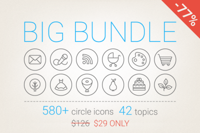77% Off - Circle Icons Big Bundle