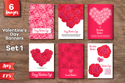 Set of 6 Valentine's day banners - 6