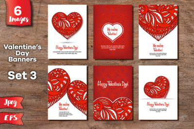 Set of 6 Valentine's day banners - 5