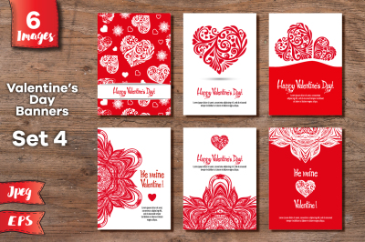 Set of 6 Valentine's day banners - 4