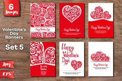 Set of 6 Valentine's day banners - 3