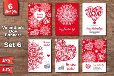 Set of 6 Valentine's day banners - 2