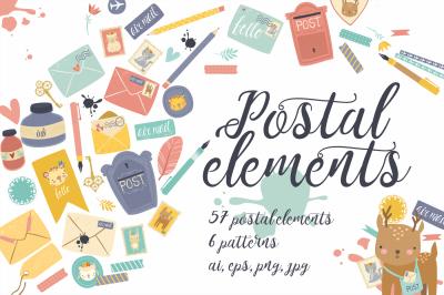 Postal set (eps, ai, png, jpg)