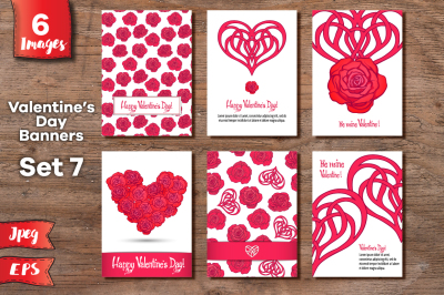 Set of 6 Valentine's day banners - 1