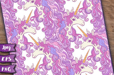 Unicorn seamless patterns set 2