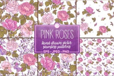 Pink Roses seamless patterns set