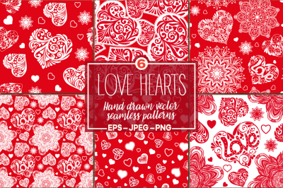 Set Love Hearts seamless patterns