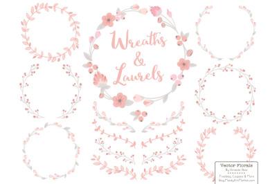 Soft Pink Floral Wreath Set
