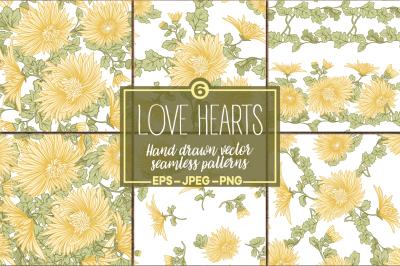 Chrysanthemums seamless patterns set