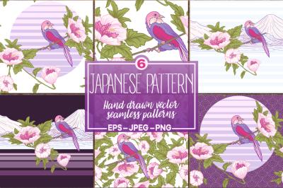 Japanese seamless patterns set